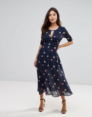 Liquorish Floral Midi Dress With Keyhole