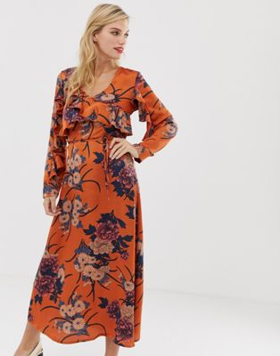 Image 1 of Liquorish floral midi dress with ruffle front and sleeve detail