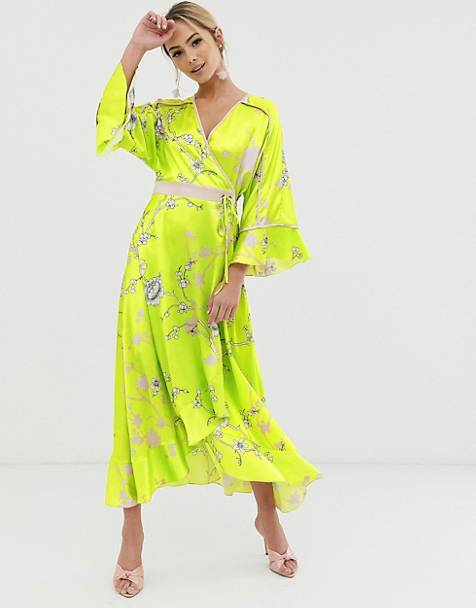 Liquorish kimono midi dress in yellow floral print