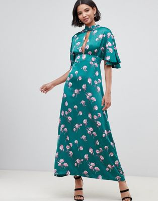 Image 1 of Liquorish kimono sleeve maxi dress with keyhole and in floral print