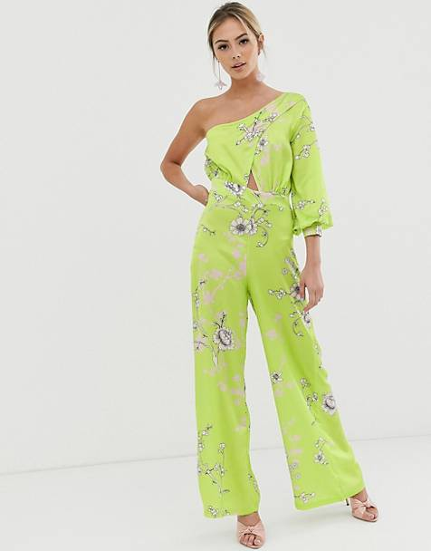 Liquorish one shoulder culotte jumpsuit in lime green floral