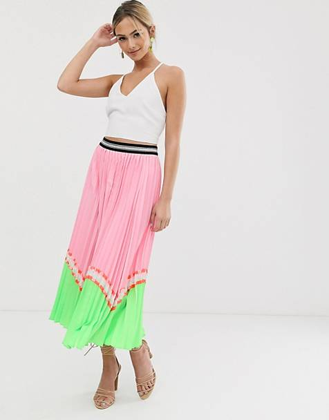 Liquorish pleated midaxi skirt in pink neon color block