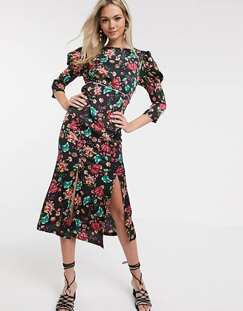 Liquorish satin midi dress with sharp shoulder detail in black print