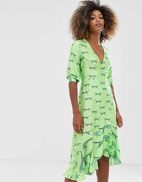 Liquorish satin wrap midi dress in fluro green tiger print