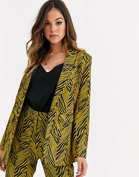 Liquorish suit blazer two-piece in gold and black abstract print
