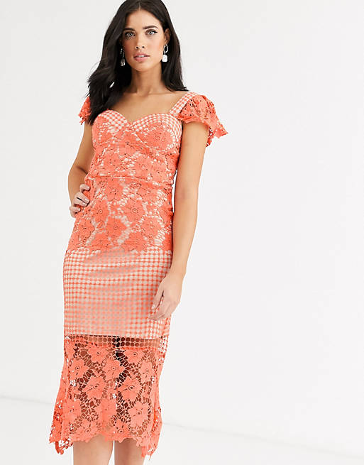 Liquorish - Vestito midi corallo con pannello in pizzo