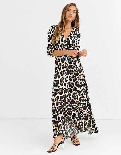 Liquorish wrap front maxi dress in leopard print