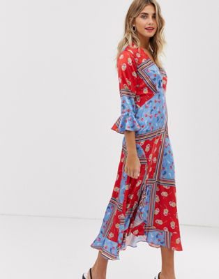 Image 1 of Liquorish wrap front midaxi dress in floral scarf print
