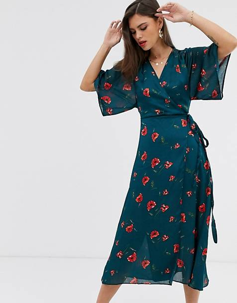 Liquorish wrap front midi dress with tie belt and flutter sleeves in teal floral