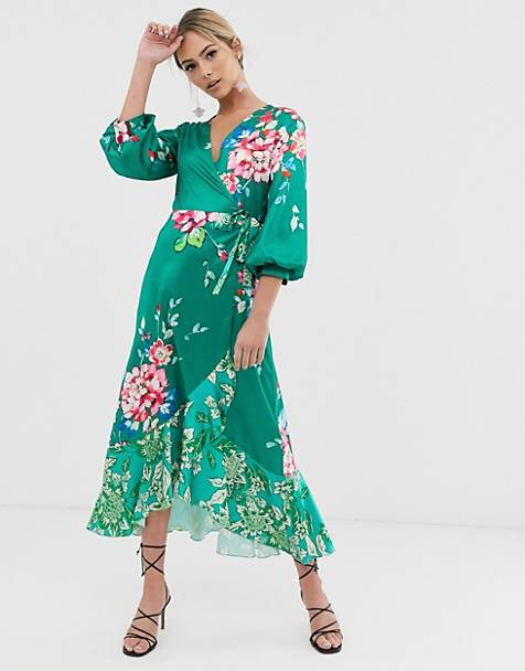 Liquorish wrap front midi tea dress in green floral print
