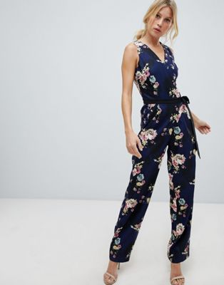 Image 1 of Little Mistress all overcontrast printed jumpsuit