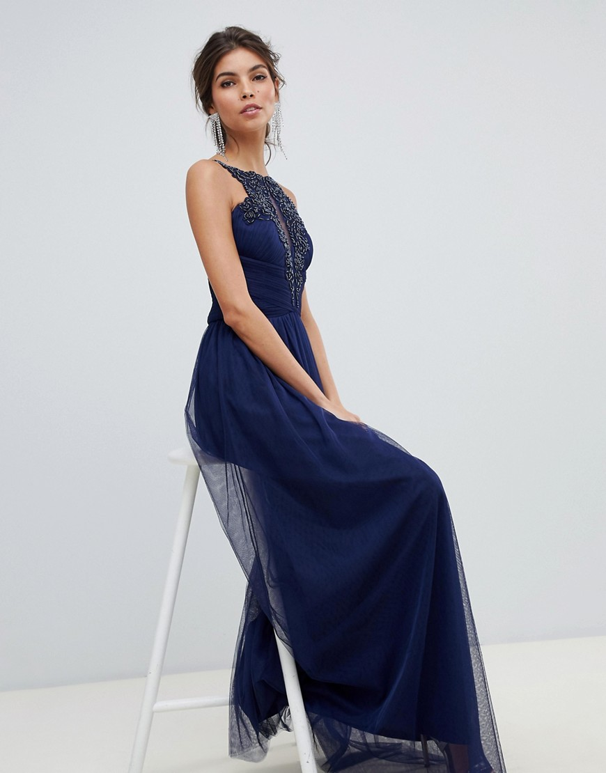 Little Mistress beaded embroidery neckline and gathered waist maxi dress-Navy - Little Mistress online sale