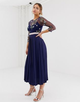 Image 1 of Little Mistress embroidered top midi dress in navy