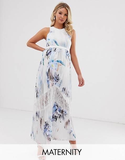 cc1dbe182583 Little Mistress Maternity – Plisserad maxiklänning med flerfärgat  blommönster