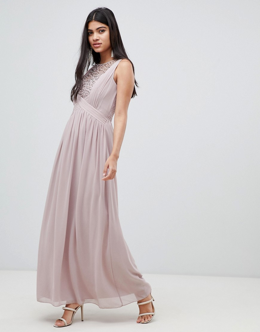 Little Mistress Maxi Dress With Pearl Embellishment by Little Mistress
