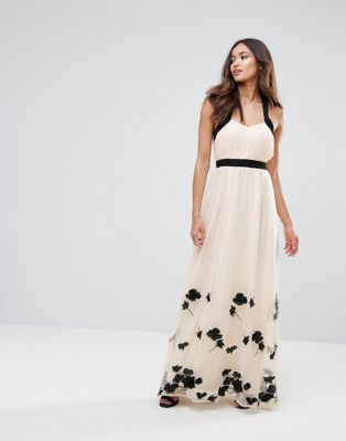 Image 1 of Little Mistress Petal Applique Maxi Dress