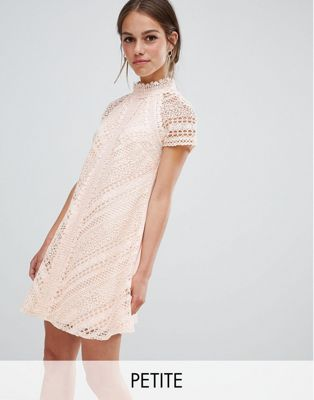Little Mistress Petite all over lace mini shift dress