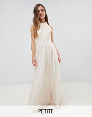 Little Mistress Petite sequin high neck maxi dress in cream