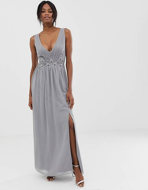 Little Mistress pleated maxi dress with lace detail