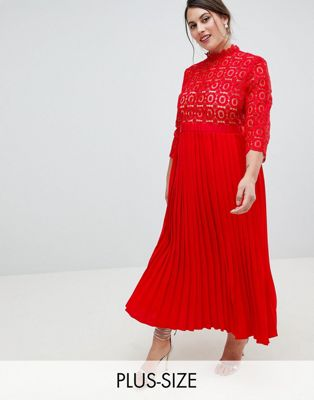 Little Mistress Plus 3/4 Sleeve Lace Top Pleated Midi Dress