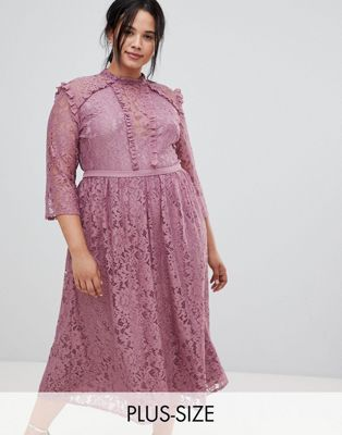 Little Mistress Plus all over lace full midi prom dress