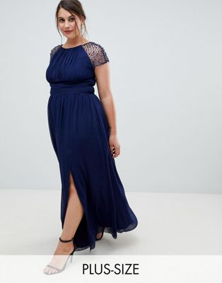 Little Mistress Plus embellished sleeve maxi dress in navy