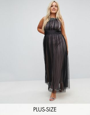Little Mistress Plus Embellished Top Dotty Mesh Maxi Dress