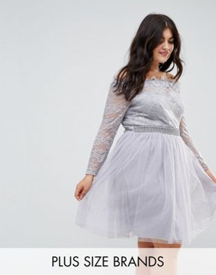 Little Mistress Plus Lace Bardot Skater Dress With Tulle Skirt