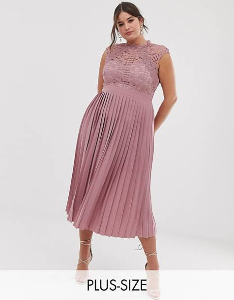 Little Mistress Plus lace top midaxi dress with pleated skirt in blush