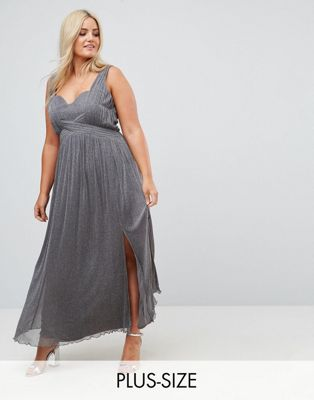 Little Mistress Plus Metallic Jersey Maxi Dress With Wrap Detail