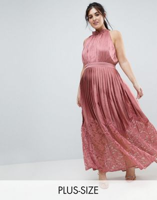Little Mistress Plus Ruffle High Neck Maxi Dress With Lace Pleated Skirt