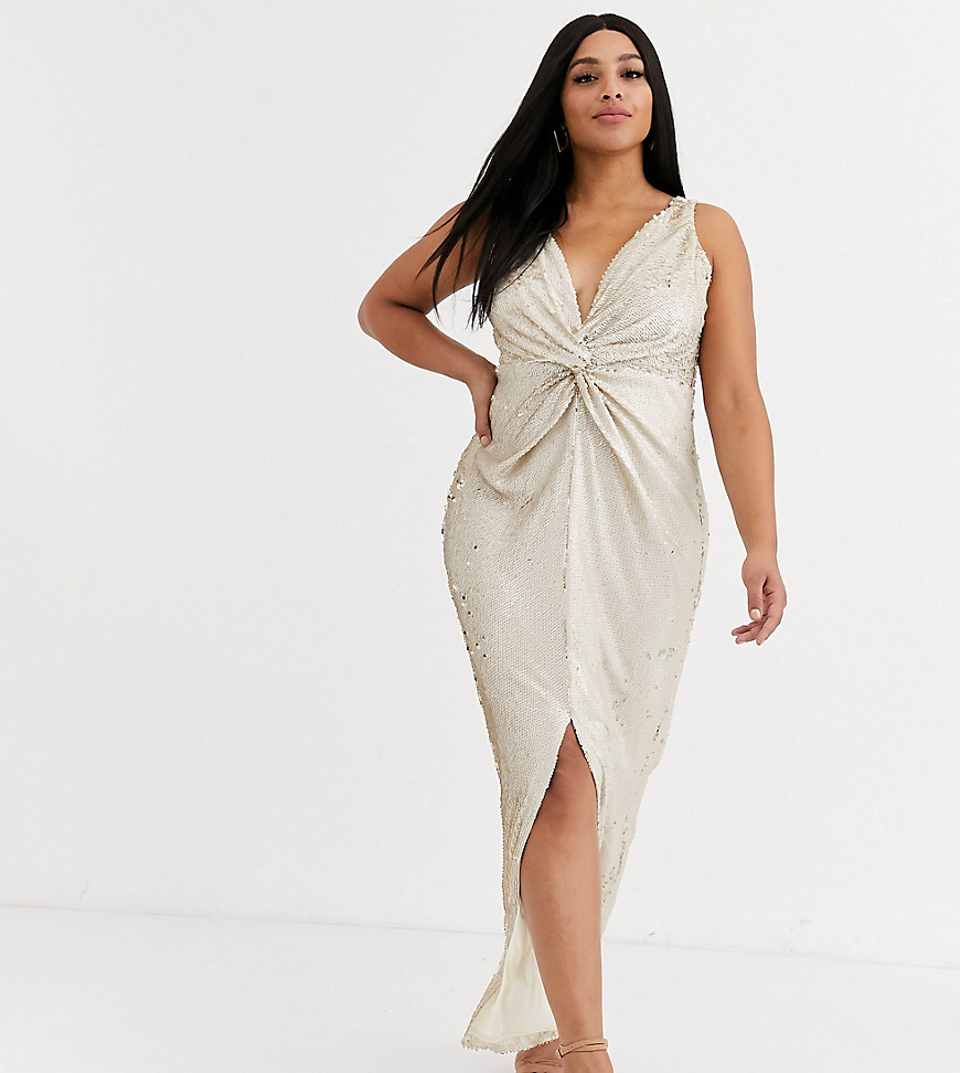 Little Mistress Plus wrap front sequin maxi dress in cream and gold - Little Mistress Plus online sale