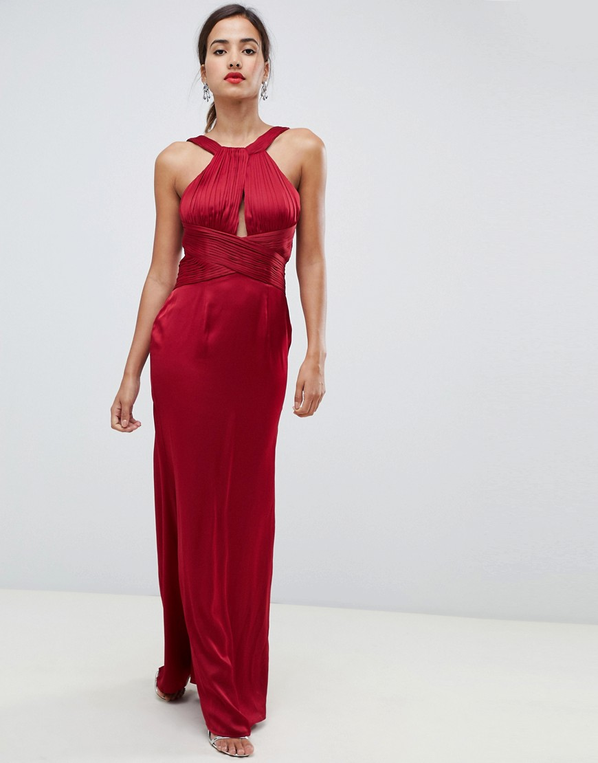 Little Mistress satin maxi dress with keyhole and gathered detail - Little Mistress online sale