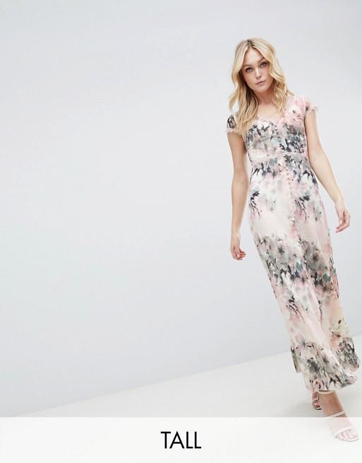 60dde5c214b Little Mistress Tall Button Through Maxi Dress In Romantic Floral Print