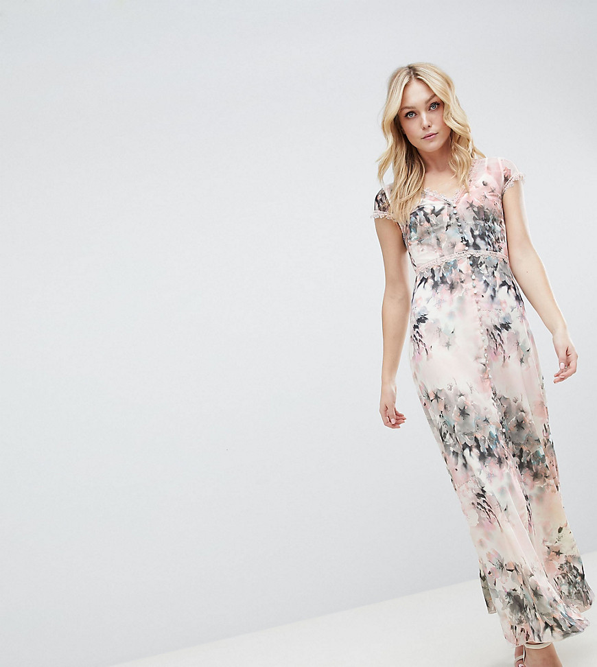 Little Mistress Tall Button Through Maxi Dress In Romantic Floral Print-Multi - Little Mistress Tall online sale