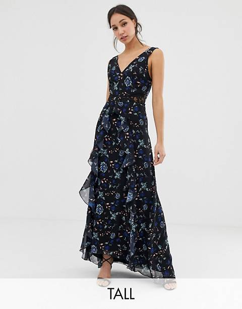 Little Mistress Tall floral lace plunge front maxi dress in black multi
