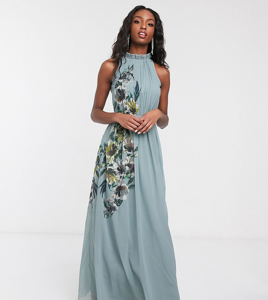 Little Mistress Tall high neck maxi dress with floral detail in blue - Little Mistress Tall online sale