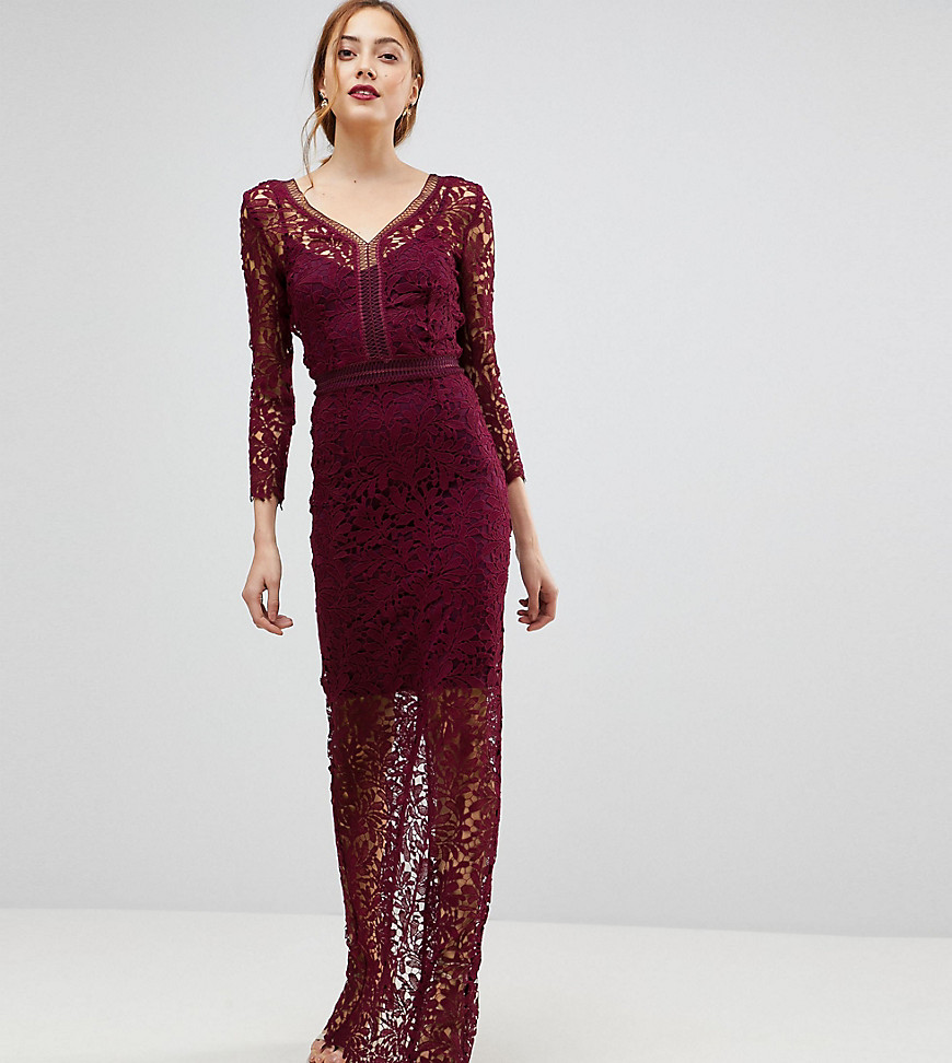 Little Mistress Tall Long Sleeve Lace Maxi Dress-Red - Little Mistress Tall online sale