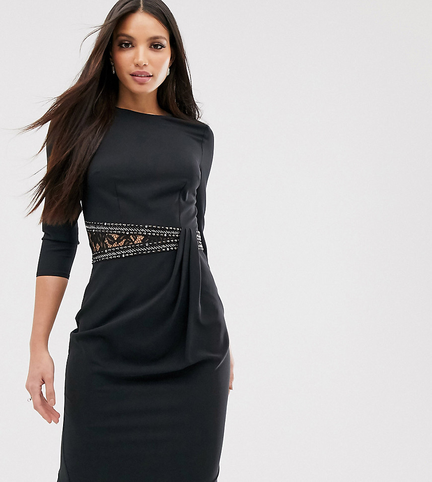 Little Mistress Tall long sleeve waist detail shift dress-Black - Little Mistress Tall online sale