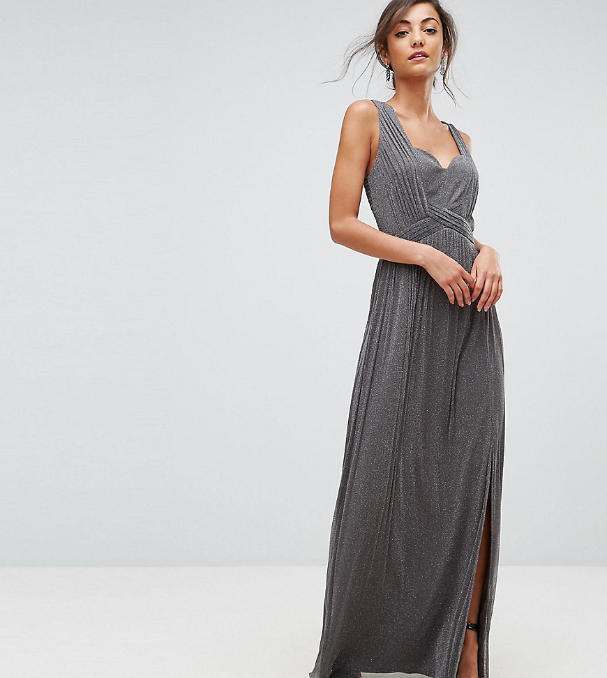 Little Mistress Tall Metallic Jersey Maxi Dress With Wrap Detail-Silver - Little Mistress Tall online sale