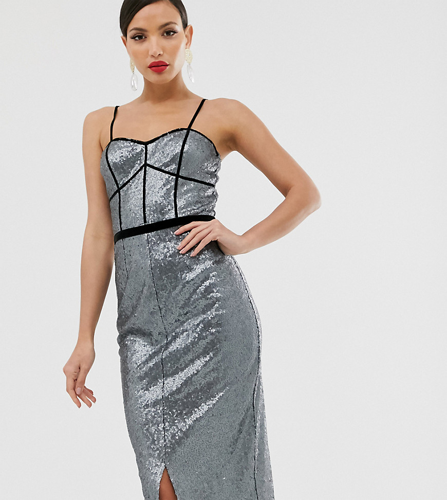 Little Mistress Tall metallic strap maxi dress-Gray - Little Mistress Tall online sale
