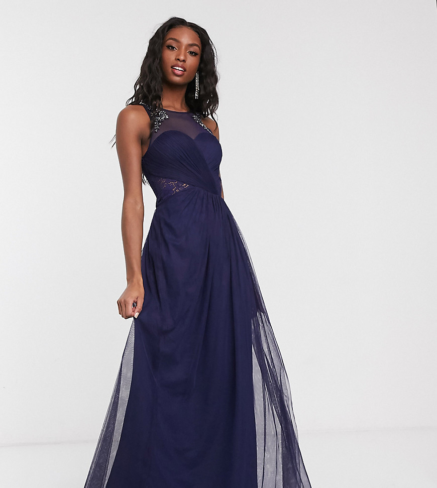 Little Mistress Tall pleat maxi dress with lace and embellishment detail in navy - Little Mistress Tall online sale