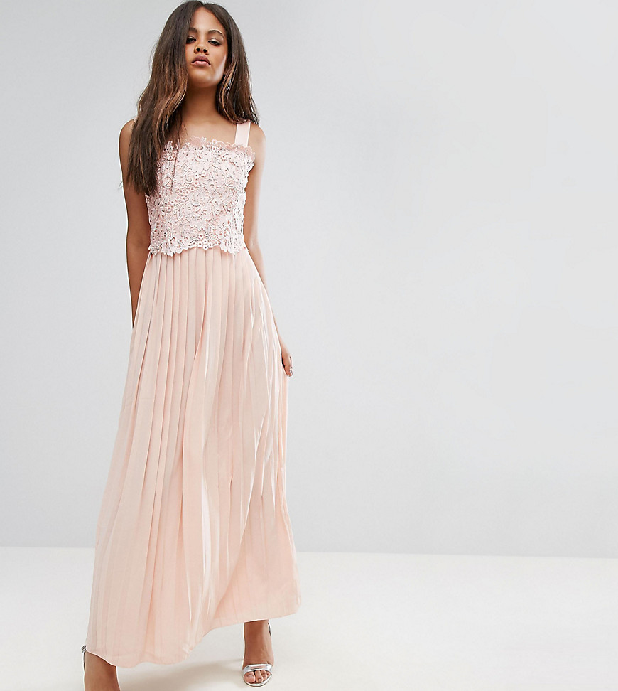 Little Mistress Tall Premium Lace Top Maxi Dress With Pleated Skirt-Pink - Little Mistress Tall online sale