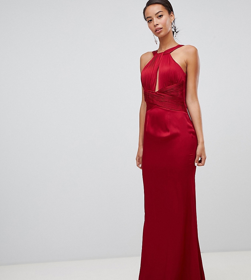 Photo of Little Mistress Tall satin maxi dress with keyhole and gathered detail- shop Little Mistress Tall dresses sales