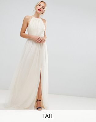 Little Mistress Tall sequin high neck maxi dress in cream