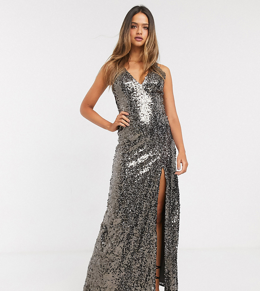 Little Mistress Tall strappy sequin maxi gown in copper-Gold – Little Mistress Tall online sale