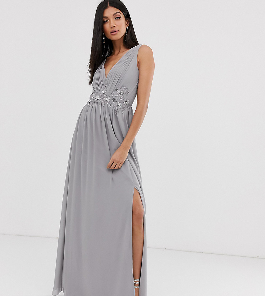 Little Mistress Tall tulle maxi dress with side split and lace detail-Gray - Little Mistress Tall online sale