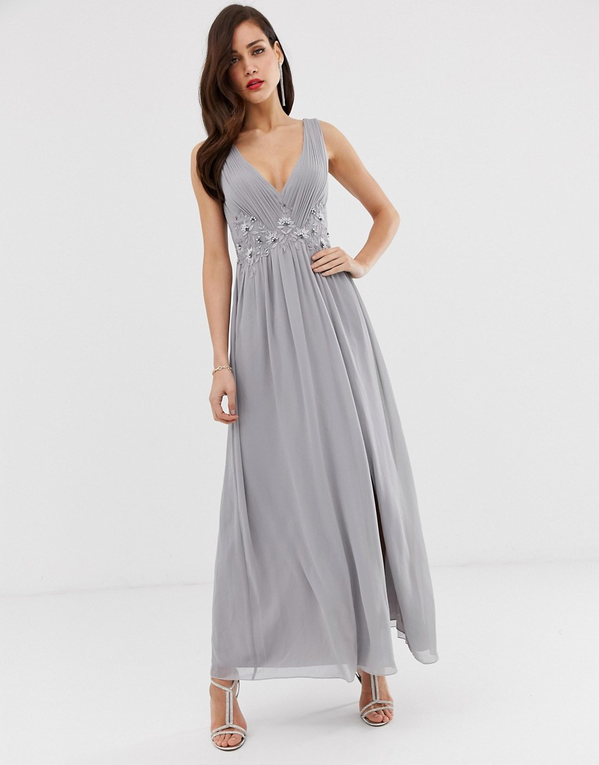 Little Mistress tulle maxi dress with side split and lace detail-Gray - Little Mistress online sale