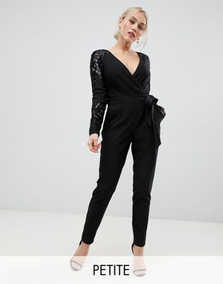 Little Mistress wrap front jumpsuit with sequin sleeves and exposed back