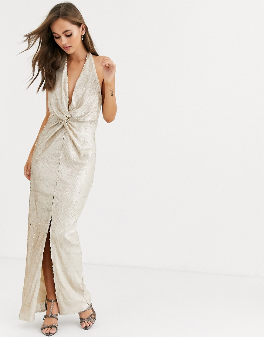 Little Mistress wrap front sequin maxi dress in cream and gold - Little Mistress online sale